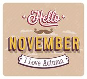 Hello november typographic design. Royalty Free Stock Image