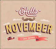 Hello november typographic design. Royalty Free Stock Photo