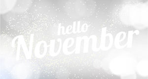 Hello November white vector card. modern soft color background Stock Images