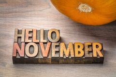 Hello November word abstrtact in wood type Stock Image
