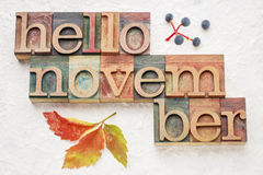 Hello November word abstrtact in wood type Stock Images