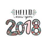 Hello nytt år 2018 Handskriven design för julhälsningkort nytt år för symbol Calligraphic vektorillustration Stock Illustrationer