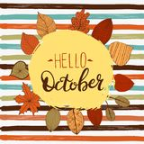 Hello october autumn flyer template with lettering. Bright fall leaves. Poster, card, label, banner design. Vector royalty free stock photo