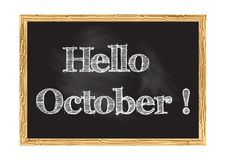 Hello October blackboard notice Vector illustration. For design vector illustration
