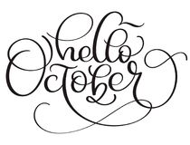 Hello October calligraphy text on white background. Hand drawn lettering Vector illustration EPS10 vector illustration