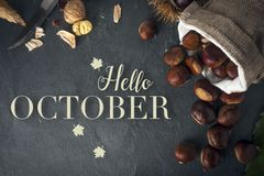 Free Hello October Card. Roasted Chestnuts On A Rock Table Royalty Free Stock Images - 144734059
