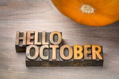 Hello October word abstrtact in wood type Stock Photography