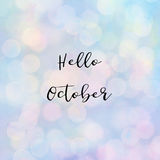 Hello October text with bokeh light Royalty Free Stock Image