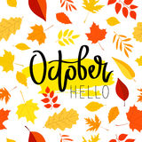 Hello October. The trend calligraphy. Royalty Free Stock Photo