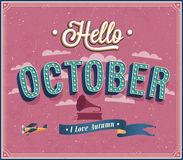 Hello october typographic design. vector illustration