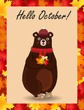 Hello october postcard with cute bear in hat and scarf holding fallen leaves Vector Illustration
