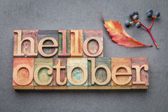 Hello October word abstrtact in wood type Royalty Free Stock Images