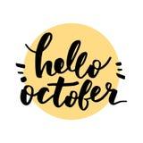 Hello oktober bokstäver vektor illustrationer