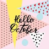 Hello Oktober, hand het van letters voorzien, citaten Moderne motivatiecalligra Stock Foto's