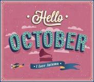 Hello oktober typografisk design. Royaltyfria Foton