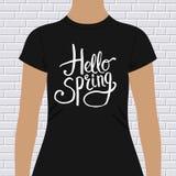 Hello-ontwerp van de de Lente het eenvoudige t-shirt vector illustratie