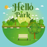 Hello Park. Natural landscape in the flat style. a beautiful park.Environmentally friendly natural landscape Royalty Free Stock Photos