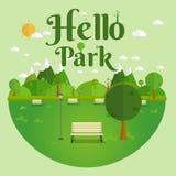 Hello parkerar Naturligt landskap i den plana stilen Ett härligt parkerar Miljövänligt naturligt landskap Royaltyfri Fotografi
