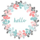 Hello, pastel vector wreath  on white background Stock Image