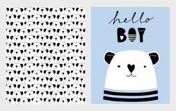 Hello pojke Gullig hand dragen uppsättning för baby showervektorillustrationer Blått, vit och svart barn- design stock illustrationer