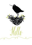 Hello postcard with bird Royalty Free Stock Photography