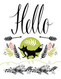 Hello postcard cover design. Happy fox and forest  Stock Image