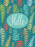 Hello postcard with fern Stock Photography
