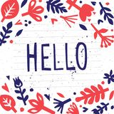 Hello. Postcard or poster with paper floral elements. Abstract floral background. Cutout florals. Royalty Free Stock Image