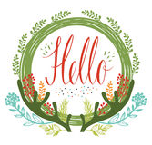 Hello postcards with green circular frame, antlers and flowers a Royalty Free Stock Photography