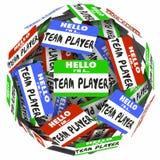 Hello är jag en Team Player Name Tag Stickers sfär som arbetar Togeth Royaltyfri Bild