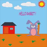 HELLO RABBIT. FUN DESIGN FOR KIDS AND T-SHIRT, DRAWING BOOKS Stock Image