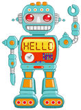 Hello robot. Retro robot toy waving hello Stock Photos