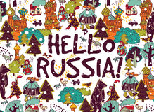 Hello Russia placard or color card snow and winter. Royalty Free Stock Image