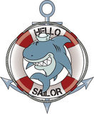 Hello sailor. Funny looking great white shark with sailor hat.anchor and lifebelt in background.isolated on white background Royalty Free Stock Photos
