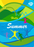 Hello Summer. 2017 inscription multicolored poster and jumping kids, teen. Illustration for Advertising, Vacation and Travel, Camping, calligraphy lettering Royalty Free Stock Image