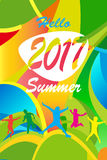 Hello Sammer. Hello Summer 2017 inscription Olympic games multicolored poster. Illustration for Advertising, Vacation and Travel, Camping and Summer party Royalty Free Stock Images