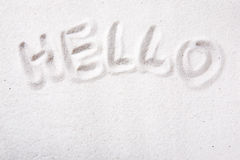 Hello Sand message Royalty Free Stock Photography