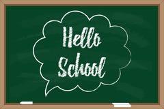 Hello school. Blackboard with chalk drawn inscription in speech bubble Stock Photo