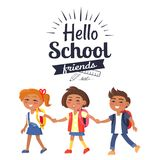 Hello School Friends Sticker Isolated on White Royalty Free Stock Images