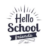 Hello School Friends Sticker Isolated on White Stock Image