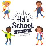 Hello School Friends Sticker with Pupils Vector Stock Photography