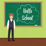 Hello school. Happy schoolboy in uniform near the blackboard. Happy schoolboy in uniform near the blackboard. `Hello school` chalk drawn inscription in speech vector illustration
