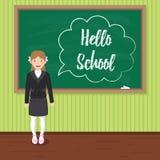Hello school. Happy schoolgirl in uniform near the blackboard. Happy schoolgirl in uniform near the blackboard. `Hello school` chalk drawn inscription in speech stock illustration