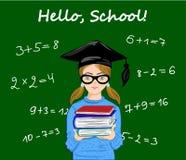 Hello school inspirational quote written on school blackboard. Pupil, student girl staying next to blackboard vector illustration. Hello school inspirational Royalty Free Illustration