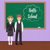 Hello school. Two happy pupils in uniform near the blackboard. Two happy pupils in uniform near the blackboard. `Hello school` chalk drawn inscription in speech stock illustration