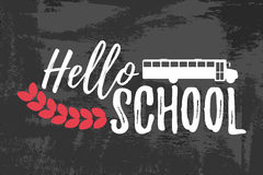 Hello School Typographic - Vintage Style Back to School. Vector illustration Stock Photos