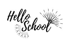 Hello School Typographic - Vintage Style Back to School. Vector illustration Stock Images
