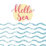 Hello Sea brush hand painted lettering phrase isolated on the white background with blue waves and yellow sun Stock Image