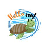 Hello sea cartoon badge with trendy design cartoon cheerful cute marine turtle with fish silhouettes. Summer and sea party motivat. Ion poster. Vector Royalty Free Stock Photography