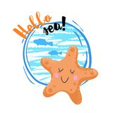 Hello sea cartoon badge with trendy design cartoon starfish. Summer and sea party motivation poster. Vector illustration Royalty Free Stock Photos